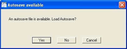 Warning when autosave file exists
