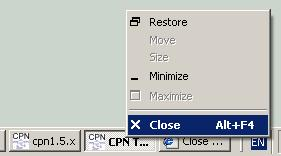 Close window via taskbar button