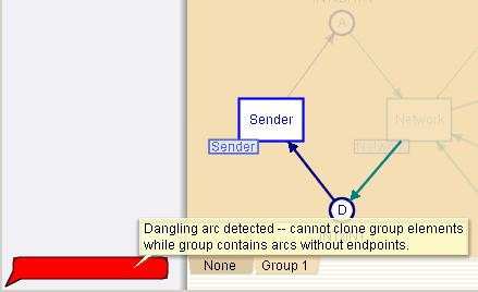 Cloning a group with dangling arcs