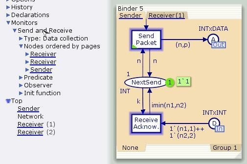 Highlighting nodes associated with a monitor