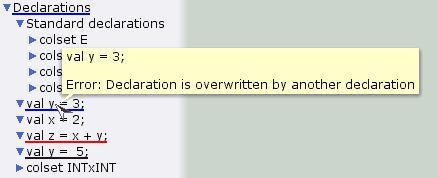 Owerwriting declarations