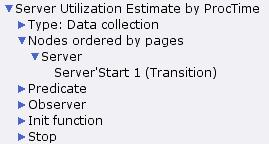 Server utilization estimate by processing time