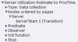 Server utilization estimate by processing time