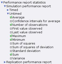 Performance report statistics options